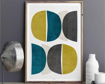 Abstract Art Print – Congemporary Abstract Wall Art - Minimalist Prints - Teal Wall Art – Fine Art Print – Large Wall Art Print – A2 Print