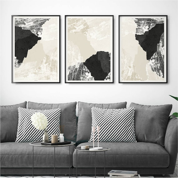 Set Of 3 Abstract Wall Art Prints Minimalist Prints Living Etsy