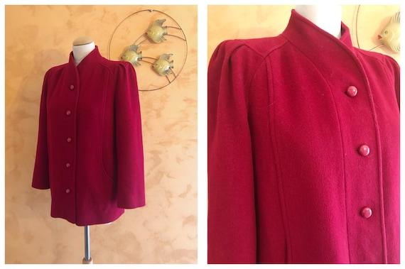 Vintage 1940s Style Red Burgundy Woolen Coat Jacke