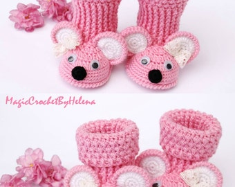 Baby booties, Gift for newborn, Booties Mouse, Gift for baby, Crochet shoes,Crochet booties,Crochet booties for girl and boy, For newborn
