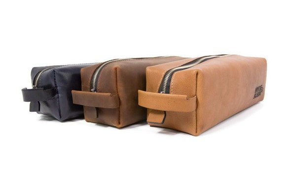 82fbdaf349 VINTAGE Toiletry Bag FREE Embossing 6 Leather Colors FREE