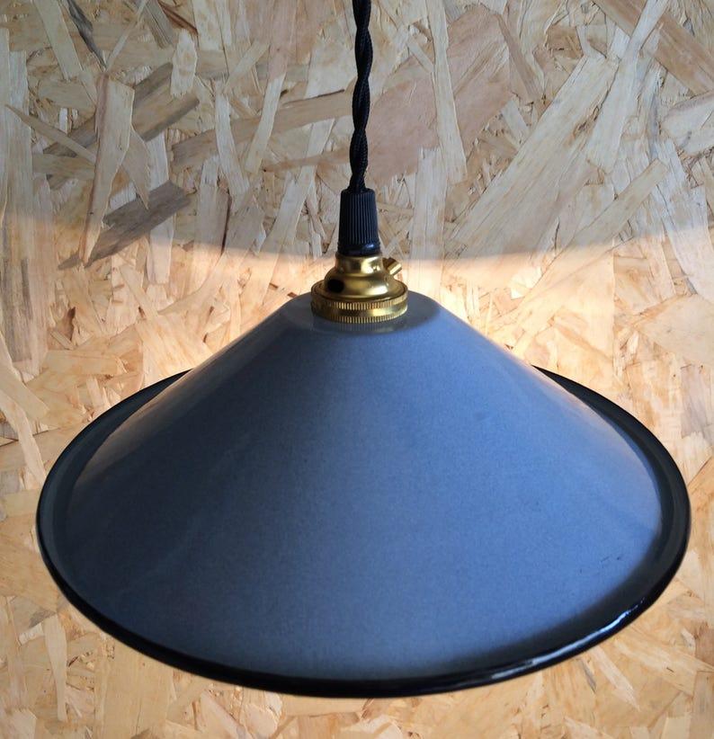 Hermosa Antiguo Lámpara Esmaltada Art Decó De Fábrica Taller Esmalte Loft