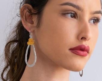 Silver And Gold Statement Teardrop Earrings, Dangle Long Earrings, Hammered Earrings, Lightweight Non Allergic Earrings, Wrap Drop Earrings