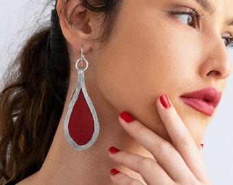 Red Drop Statement Earrings, Large Silver Hammered Earrings, Leather Dangle Earrings, Silver Teardrop Earrings, Lightweight Minimalist.