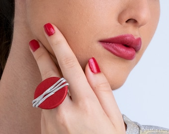 Statement Red And Silver Ring, Leather Ring, Geometric Wrapped Ring, Silver Ring, Women Big Ring, Oval Minimalist Ring, Adjustable Size Ring