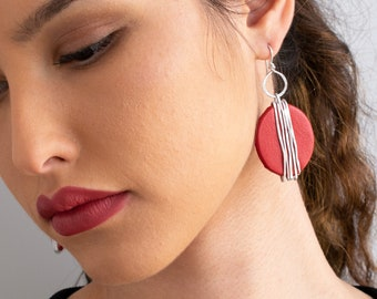 Red Dangle Earrings, Statement Oval Earrings, Red Leather Earrings, Silver Wrapped Earrings, Lightweight Earrings, Large Dangle Earrings.