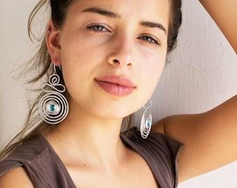 Dangle Beaded Earrings, Silver Spiral Large Earrings, Long Turquoise Bohemian Earrings, Wrap Dangle Earrings, Lightweight.