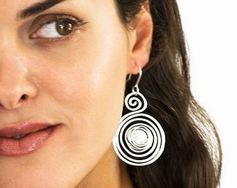Statement Earrings, Silver Dangle Earrings, Spiral Earrings, Wrapped Earrings, Statement Earrings, Lightweight Earrings, Silver earrings.