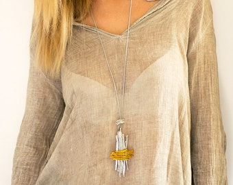 Wrap Pendant Necklace, Silver And Gold Pendant, Long Statement Necklace, Leather Necklace For Women, Hammered Big Pendant, Charm necklace.