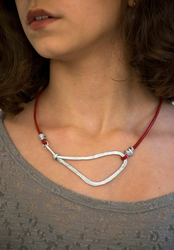 Geometric Necklace Silver Pendant Choker Leather Necklace Mother/'s Day Gift Charm Necklace. Statement Necklace Turquoise Necklace
