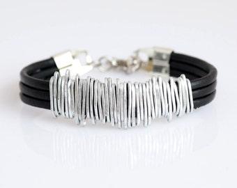 Black Leather Bracelet, Wrap Silver Bracelet, Statement Bracelet, Unique Leather Bracelet, Black Women Bracelet, Wrap Leather Bracelet.