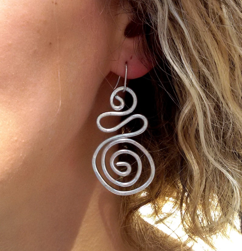 Silver /& Gold fish spiral earrings 14K Gold Sterling Silver