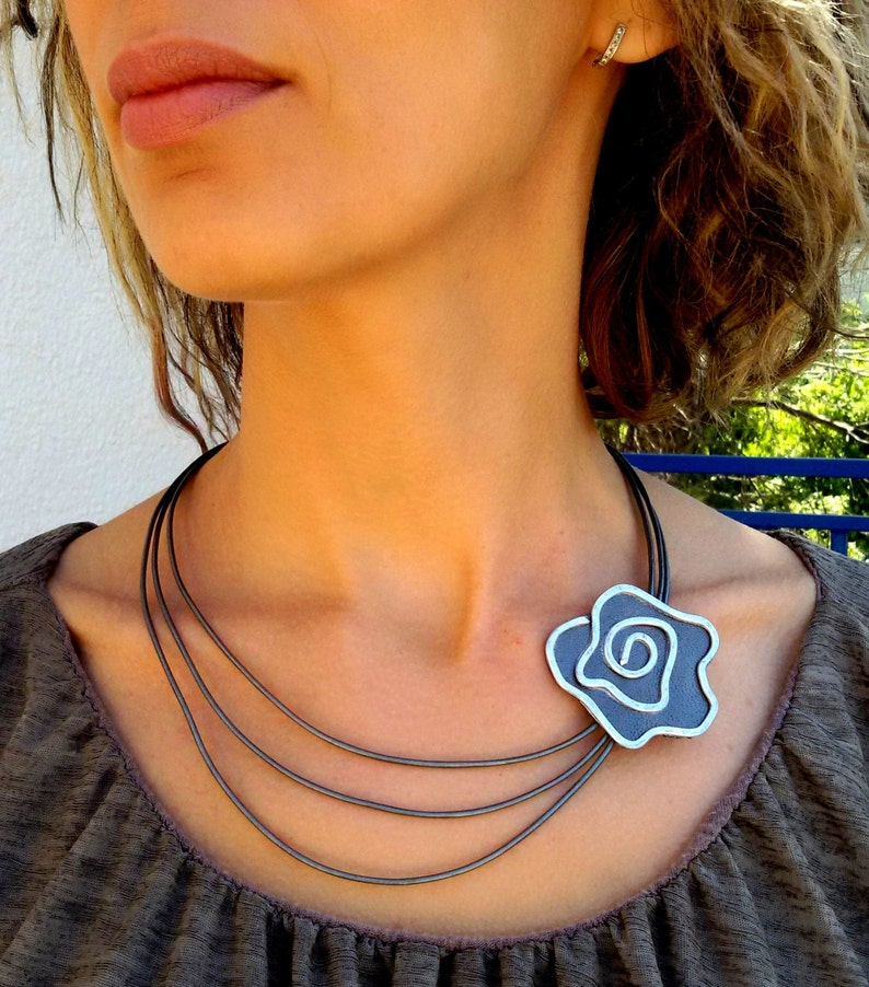 Mom/'s Day Gift Leather Flower Necklace Silver Necklace Stranded Necklace Leather Necklace. Statement Necklace Vintage Necklace