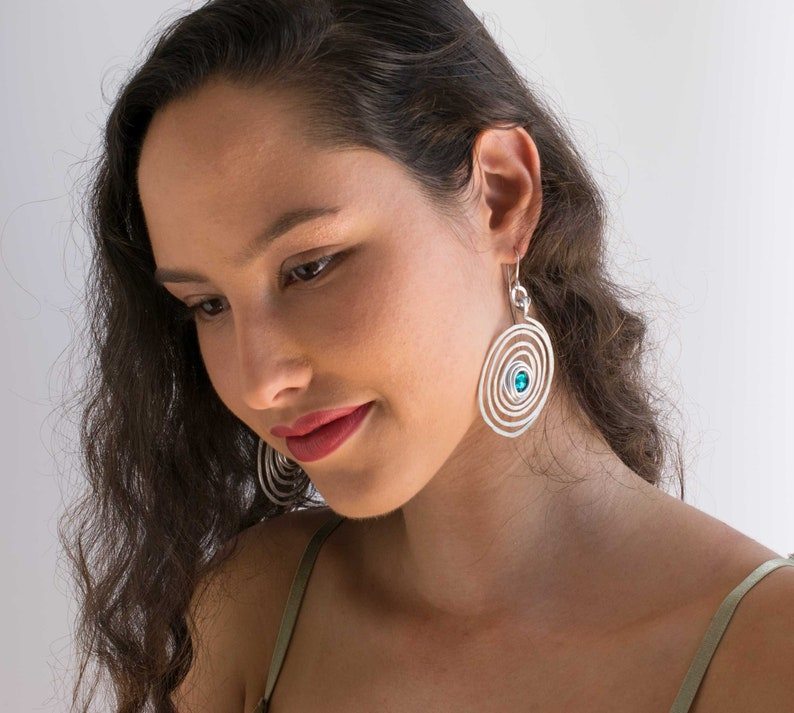 Long Bohemian Earrings Lightweight. Big Round Silver Spiral Dangle Earrings Hammered Dangle Earrings Large Earrings With Turquoise Beads