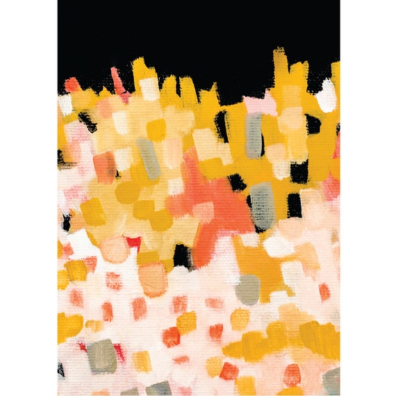 Modern landscape painting colorful modern art print pink and