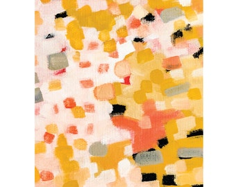 Modern colorful wall art, pink and yellow abstract painting, minimalist art print