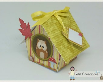 """PRINTABLE GIFT box """"Owl house"""" DIY, treat box, place holder, gift idea for party"""