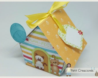 """PRINTABLE GIFT box """"Cat house"""" DIY, treat box, place holder, gift idea for party"""