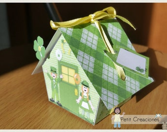 """PRINTABLE GIFT box """"Lucky house"""" DIY, treat box, place holder, gift idea for Saint Patrick's day party"""
