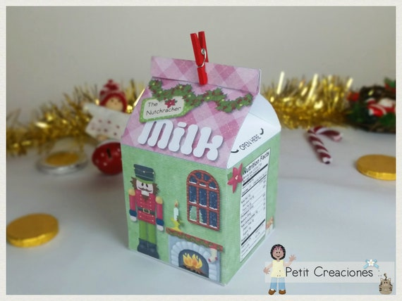 Christmas Party Gift Ideas.Printable Milk Carton The Nutcracker Diy Pdf Gift Idea