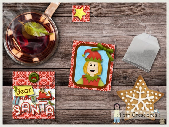Christmas Party Gift Ideas.Printable Wrapper For Biscuit Tea Santa S Helper Gift