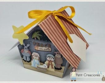 "PRINTABLE GIFT box ""Nativity scene"" DIY, treat box, place holder, gift idea for Christmas"