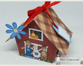 """PRINTABLE GIFT box """"The farm"""" DIY, treat box, place holder, gift idea for party"""