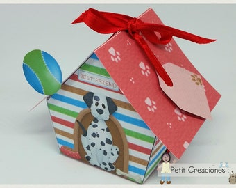 """PRINTABLE GIFT box """"Dog house"""" DIY, treat box, place holder, gift idea for party"""