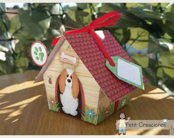 """PRINTABLE GIFT box """"Dog House Garden"""" DIY, treat box, place holder, gift idea for party"""