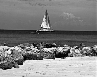 Beach Decor - Beach Print - Sand Print - Ocean Print - Sea print - Boat photo - Sailing Print - Black & White Print - Art - Sailing Photo