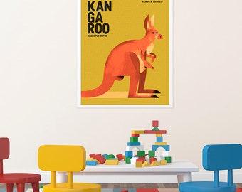 KANGAROO, Australian Native Animal, Nursery Wall Art, Red Kangaroo Poster, Retro Animal Illustration, Mid-Century Inspired Poster, Mustard