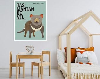 TASMANIAN DEVIL, Australian Animal Print, Endangered Animal Poster Art, Retro Nursery Print, Australian Fauna, Kids Room Wall Art, Taz Print