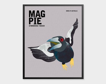 MAGPIE Birds of Australia, Educational Poster, Australian Birds, Boys Room Print, Quirky Nursery Birds, Australiana, Australian Birdlife Art