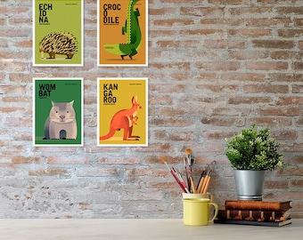AUSTRALIAN ANIMALS Art Prints, Nursery Art, Colourful Kids Room Prints, Koala Wombat Echidna Croc Emu Platypus, Set of 4, 5 x 7 Animal Print