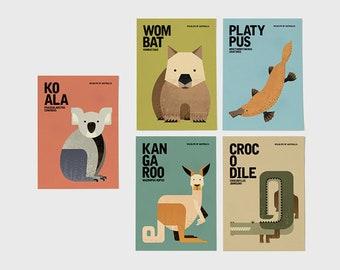 AUSTRALIAN WILDLIFE Notecards, Kangaroo, Koala, Wombat, Platypus, Crocodile Greeting Cards, Animal Illustrations Postcards, Set of 5 Cards