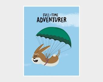 BUNNIES, Rabbits, Hares, Adventure Nursery Print, Parachute Print,  Kids Room Decor, Quirky Easter Bunny, Kids Adventure Rabbit Poster Art