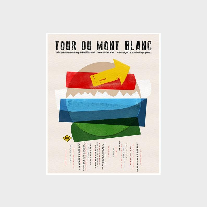 TMB Tour Du Mont Blanc Hiking Adventure Poster Trekking Art Beige