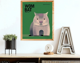 WOMBAT, Wildlife of Australia, Australian Nursery Print, Kids Room Art, Kids Educational Poster, Gender Neutral Art, Retro Wombat Prints
