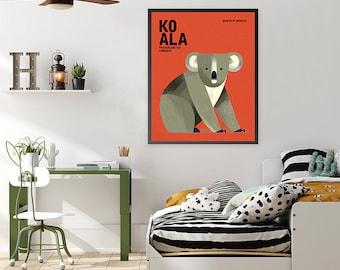 KOALA, Wildlife of Australia, Australian Animals Art Print, Nursery Art, Australiana, Educational Kids Poster, Australia Iconic Animal Print