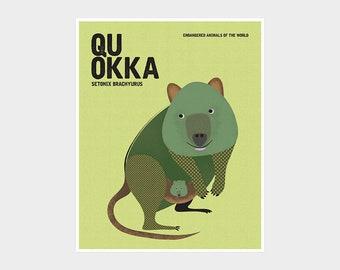 QUOKKA, Rottnest Island Wildlife Poster, Endangered Australian Animal, Wildlife Conservation Art Print, Retro Nursery Print, Kids Room Decor