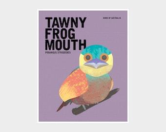 TAWNY FROGMOUTH Native Australian Bird Art, Australian Nursery Prints, Australian Birds, Gender Neutral Bird Prints, Birds of Australia Art