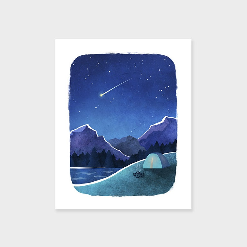 CAMPING Adventure Print Mountain Art Print Shooting Star image 0