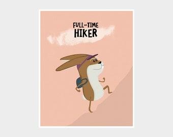 RABBIT Hiking Art, Bunny Nursery Art Print, Quirky Easter Bunny, Kids Room Decor, Kids Adventure Poster, Personalised Hiker Poster, Hare Art