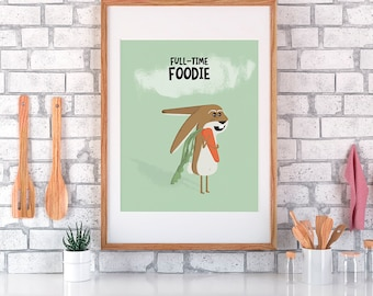 RABBIT, Easter Bunny Nursery Animal Art Print, Quirky Bunny Room Decor, Childish Kitchen Art, Food Lover Art, Gender Neutral Bunny Poster