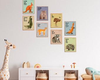 AUSTRALIAN WILDLIFE Prints, Gender Neutral Kids Room Prints, Set of 8 Animal Prints, 8x10 Educational Prints, Australian Nursery Wall Art