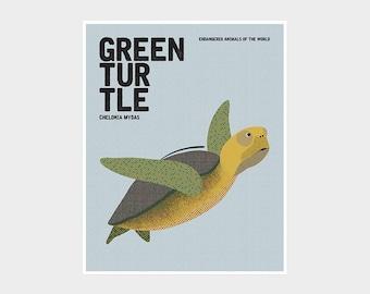 GREEN TURTLE, Endangered Wildlife, Wildlife Protection Marine Animal Poster, Retro Nursery Print, Sea Turtle Art, Kids Educational Prints