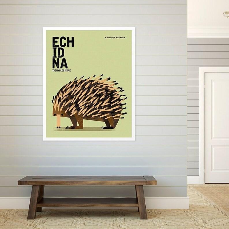 ECHIDNA Wildlife of Australia Nursery Animal Wall Art Print image 0