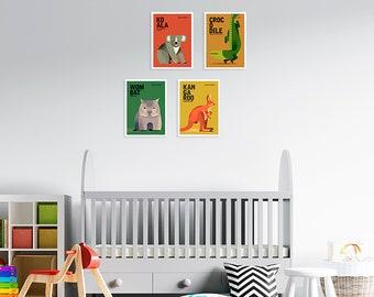 AUSTRALIAN WILDLIFE Art Prints, Australiana Art, 5 x 7 Animal Nursery, Gender Neutral, Colourful Animal Prints, Australian Nursery Art Print
