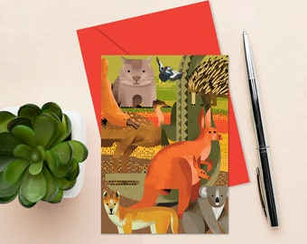 AUSTRALIAN ANIMALS Greeting Card, A6 Blank Card, Australian Icons, Australiana Snail Mail, Australian Wildlife Cards, Australian Icons Cards