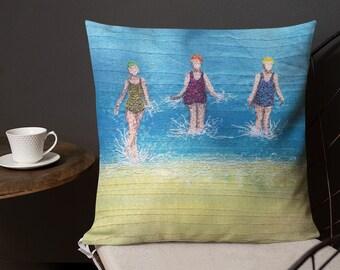 Cushion Three swimming friends premium Pillow  MADE TO ORDER